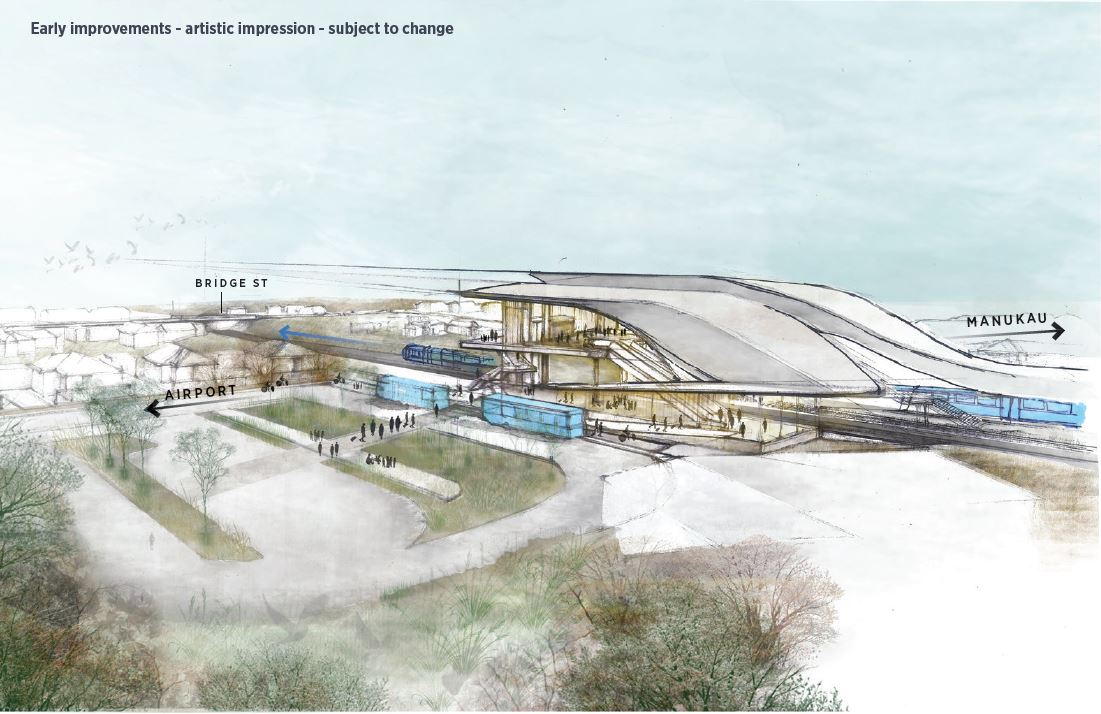 Puhinui Station drawing - artist impression