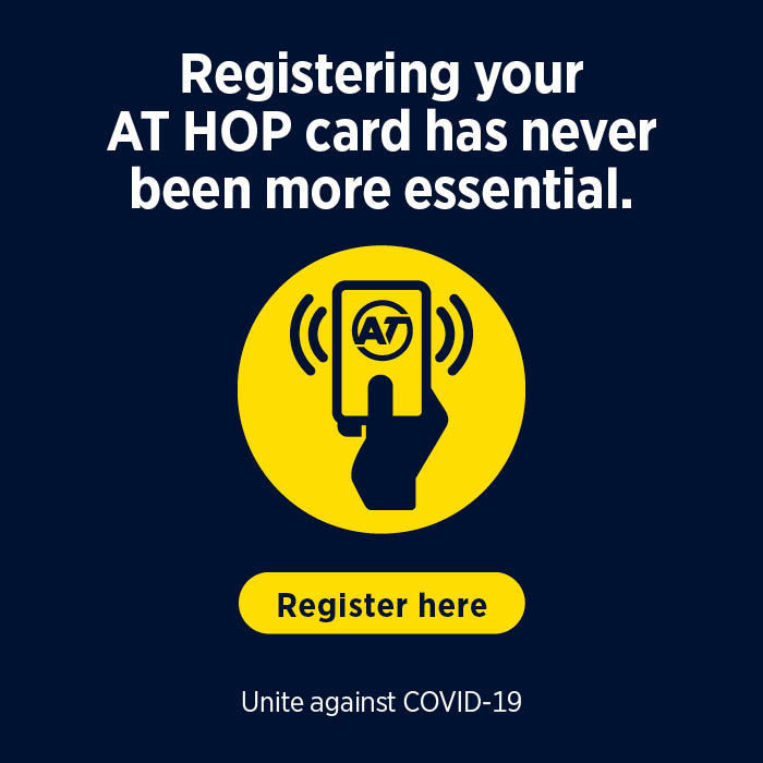 Register your AT HOP card - it can help with contact tracing