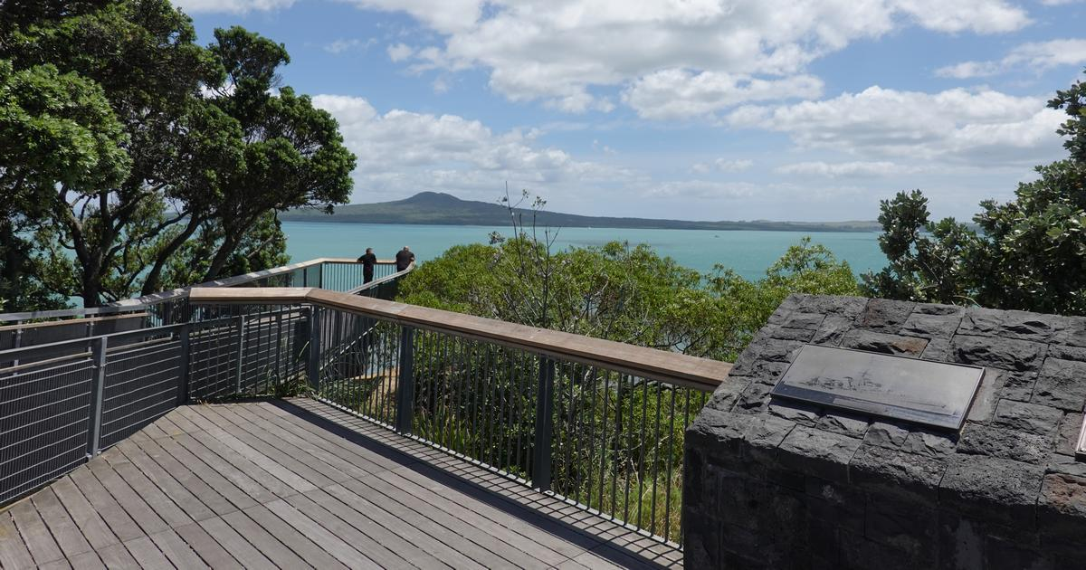 Viewing platform at Achilles Point Saint Heliers Auckland looking north towards Rangitoto Island
